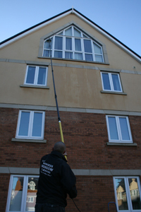 Cleaning Windows in Weymouth with a Water-fed pole